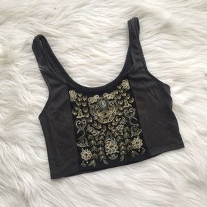 Boho Embroidered Crop Tank Top